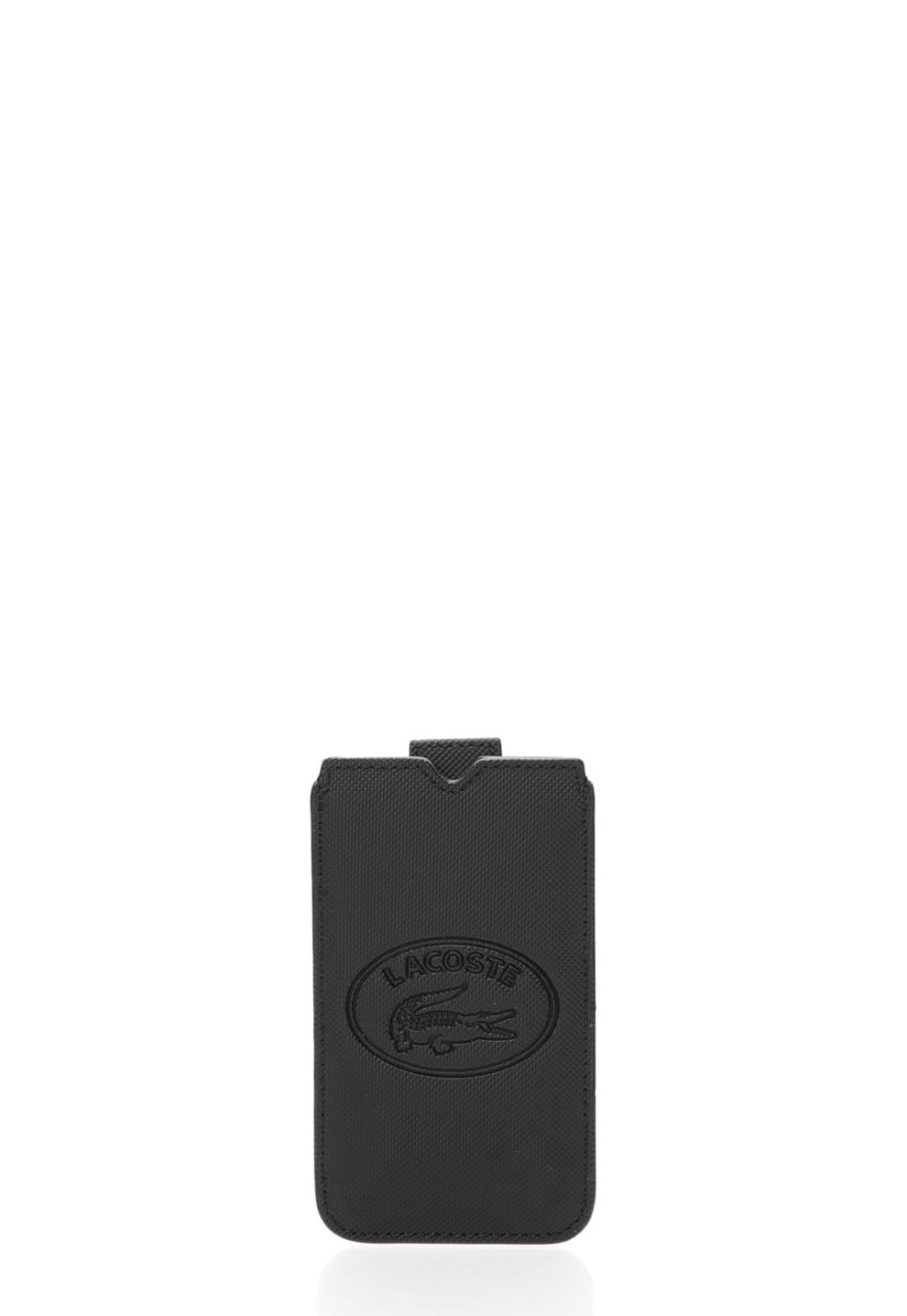 Fotografie Lacoste, Husa texturata neagra pentru iPhone, Negru