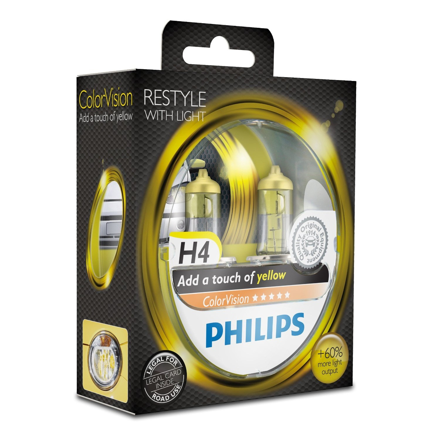Fotografie Set 2 Becuri auto far halogen Philips H4 Color Vision Yellow, 12V, 55W