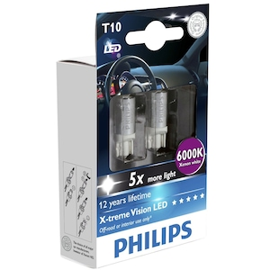 Set 2 Becuri LED auto auxiliare Philips W5W Xtreme Vision, 5 x more light, 12V, 1W, 6000K
