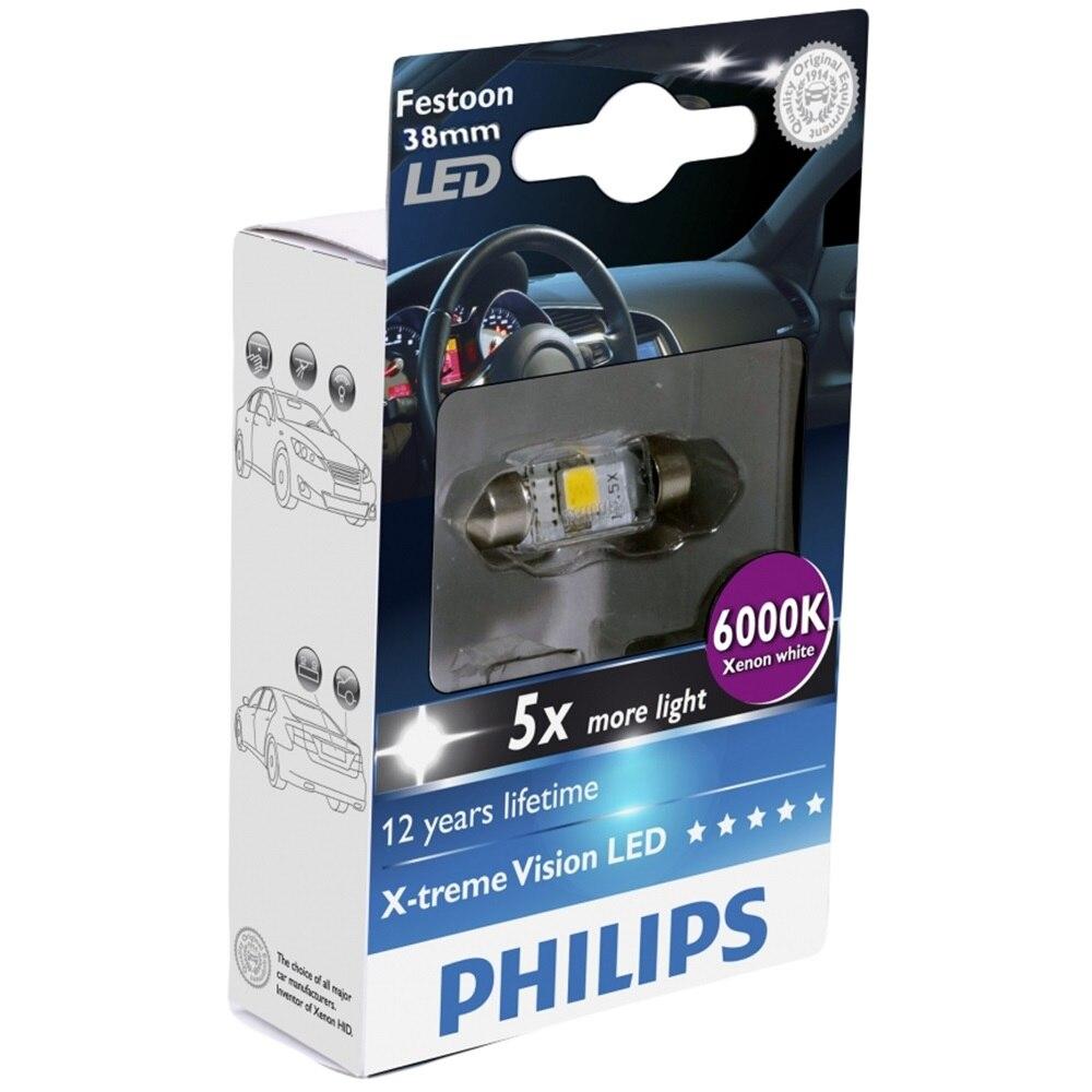 Fotografie Bec auto LED auxiliar Philips C5W Xtreme Vision, 5 x more light, 12V, 1W, 6000K, 1 Buc