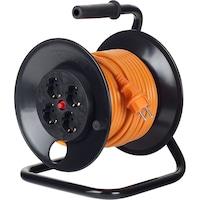 Prelungitor cu tambur Bachmann 4xSchuko, protectie copii, termosiguranta, cordon HO5VV-F 3G2.5, 50m, Orange