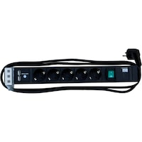 Connect Line Bachmann 5 x Schuko, 1 x intrerupator, 1 x USB charger (dublu), cordon 2.0m H05VV-F 3G1.5 mm2