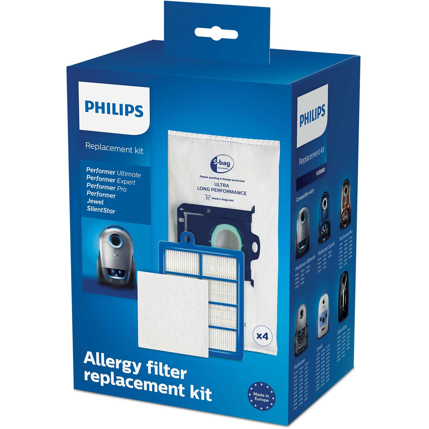 Fotografie Kit aspirator Philips FC8060/01: 4 saci de praf S-bag, 1 filtru evacuare HEPA13, 1 filtru cu strat triplu, compatibil cu gamele Performer /Pro/Silent/Ultimate