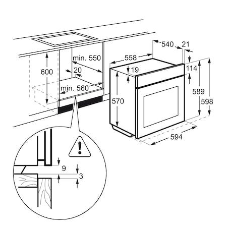 Cuptor incorporabil Zanussi ZOB442X, Electric, 60 l, 3 functii, Grill, Clasa A, Inox