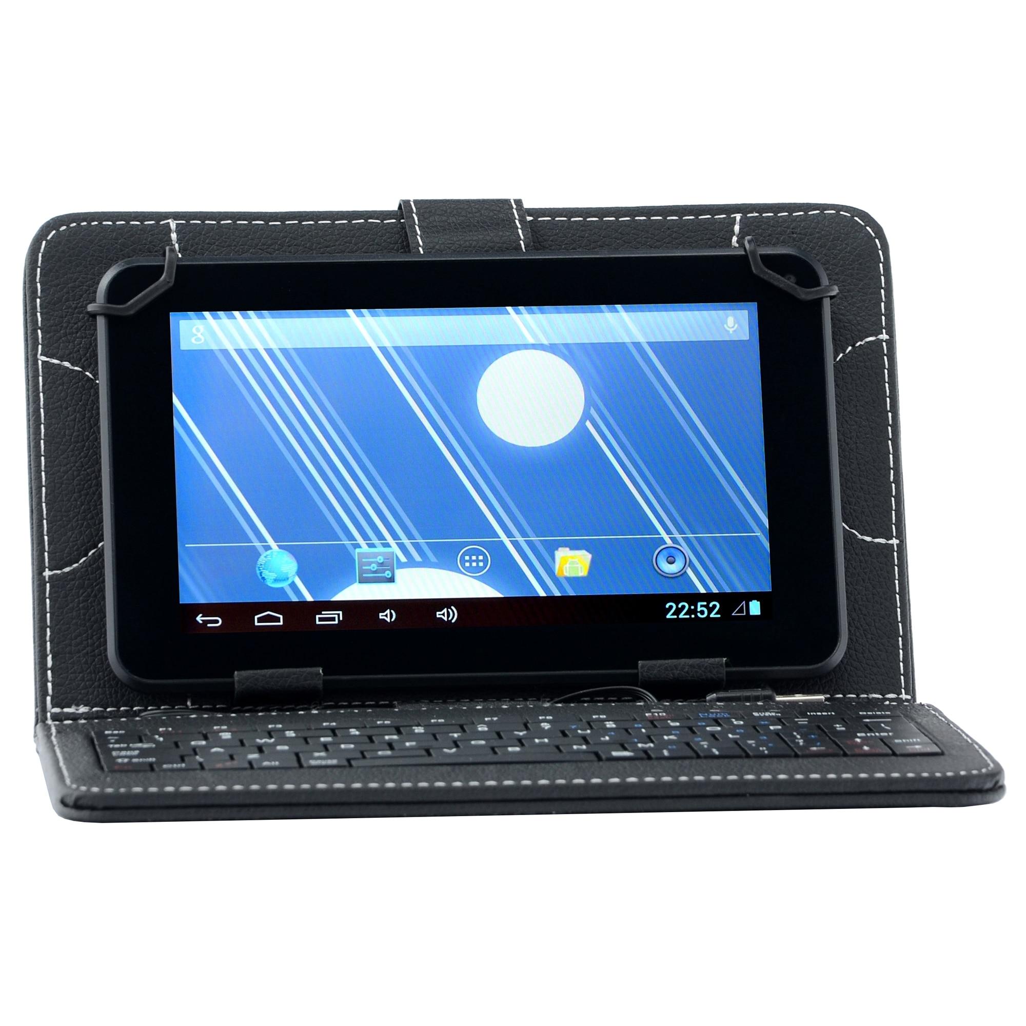 """Fotografie Husa de protectie Universala A+ Case pentru tableta 7"""", Tastatura, Black"""