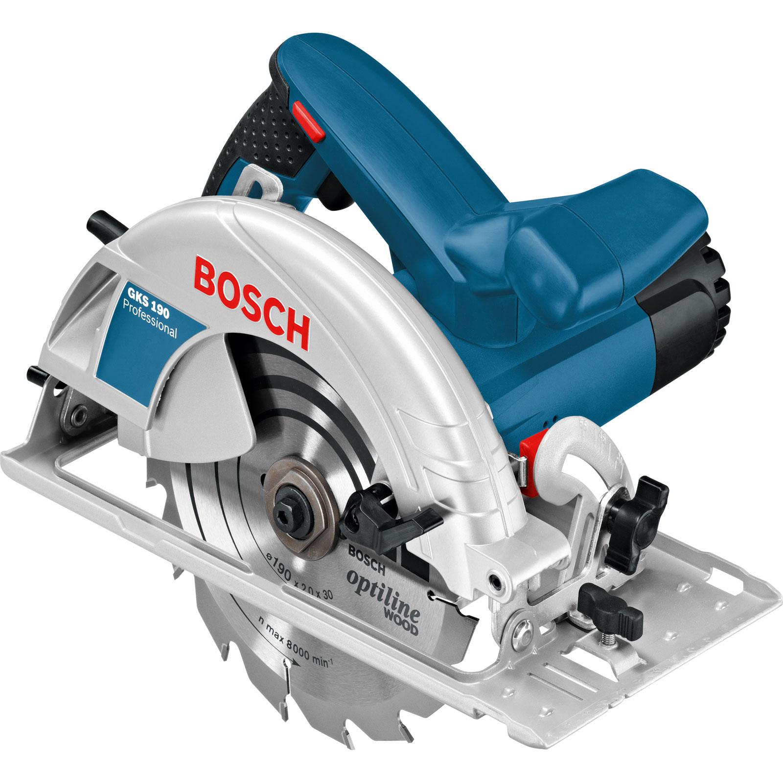 Fotografie Fierastrau circular Bosch Professional GKS 190, 1400 W, 5500 RPM, 190 mm diametru panza, accesorii incluse