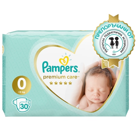 Пелени Pampers Premium Care 0, До 2,5 кг, 30 броя