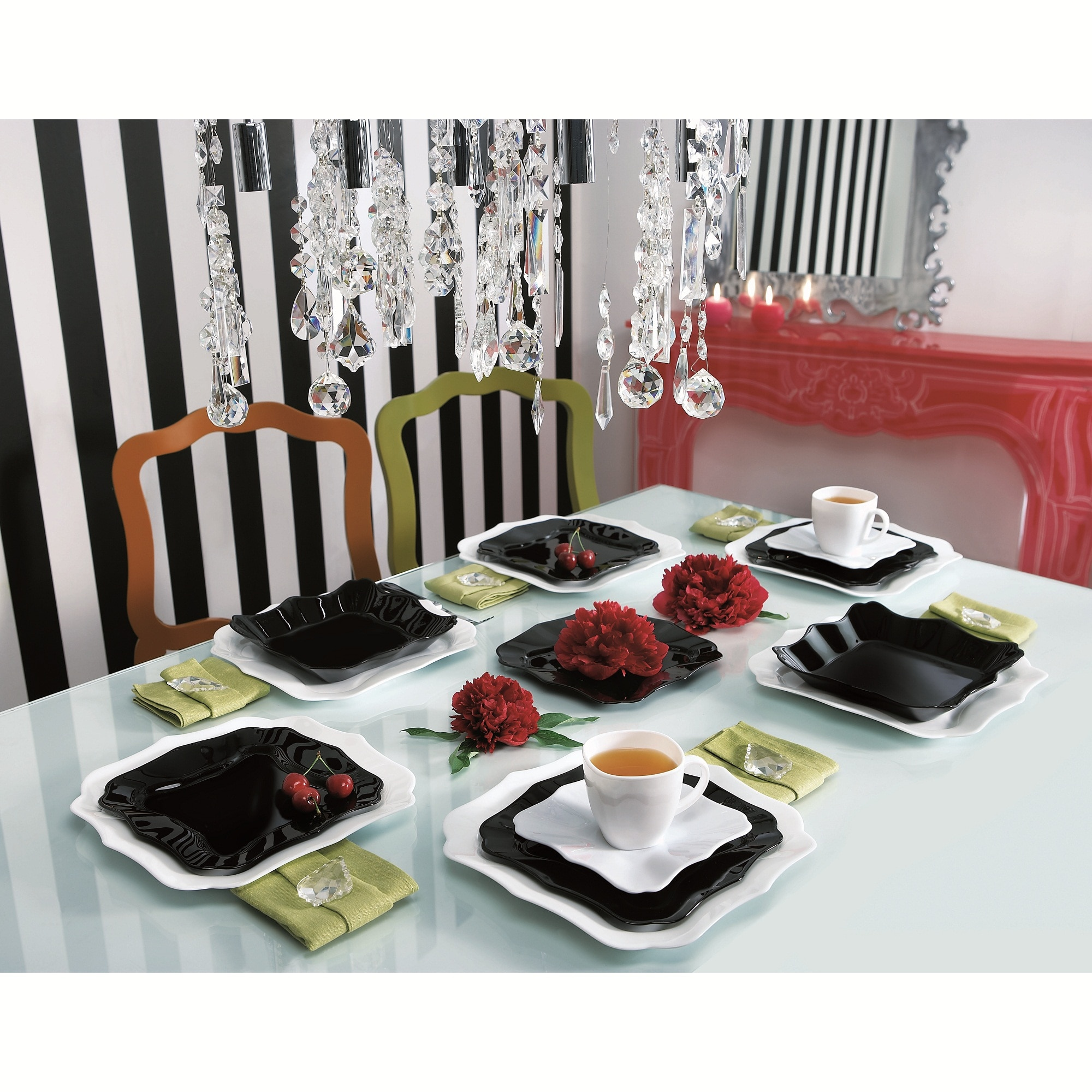 Fotografie Serviciu de masa Luminarc Authentic, 30 piese, model patrat alb/negru