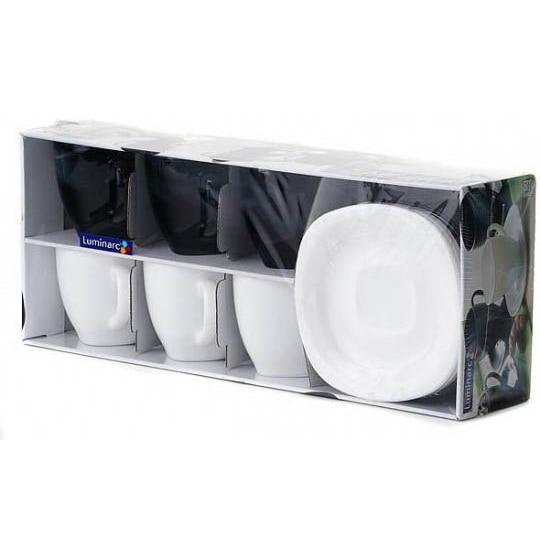 Fotografie Serviciu de ceai 12 piese Luminarc Carine, 6 cesti 220 ml + 6 farfurioare, Alb/Negru