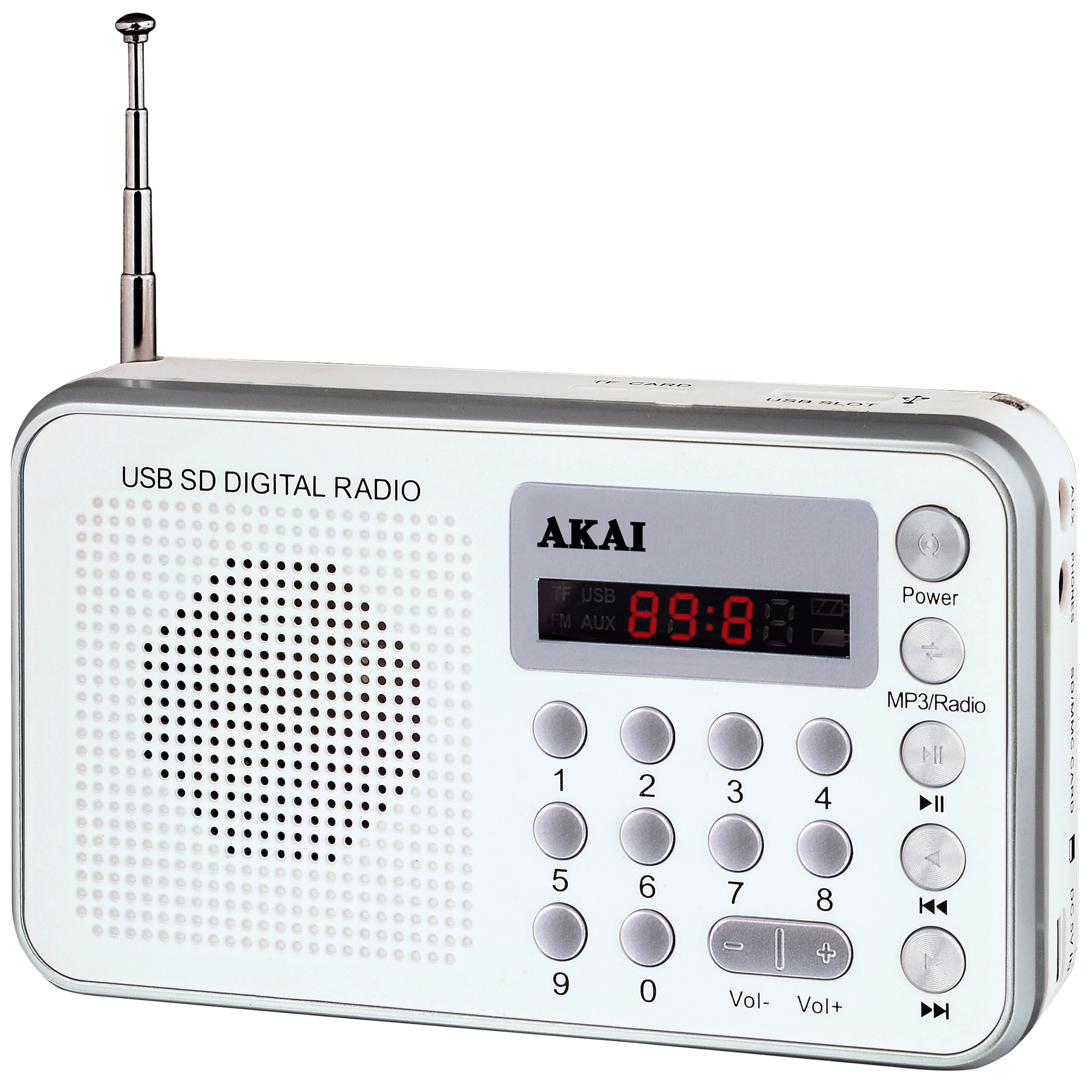 Fotografie Radio portabil Akai DR002A-521, USB, Alb