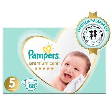 Пелени Pampers Premium Care Mega Box 5, 11-16 кг, 88 броя