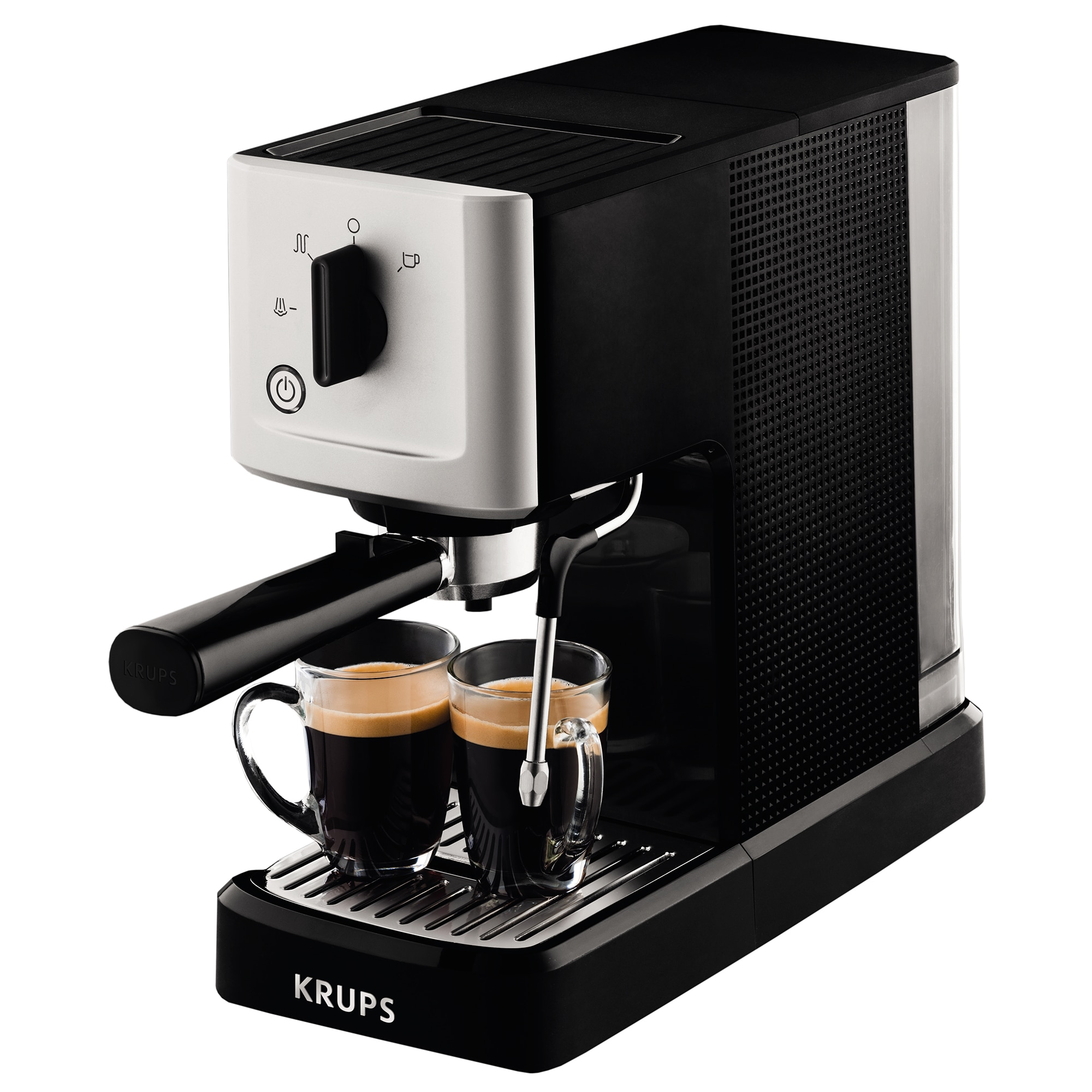 Fotografie Espressor manual Krups Calvi XP3440, 1460W, 15 bar, 1.1 l, Negru/Argintiu