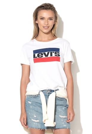 Levi's, Fehér Logómintás Póló 17369-0297, Fehér, S