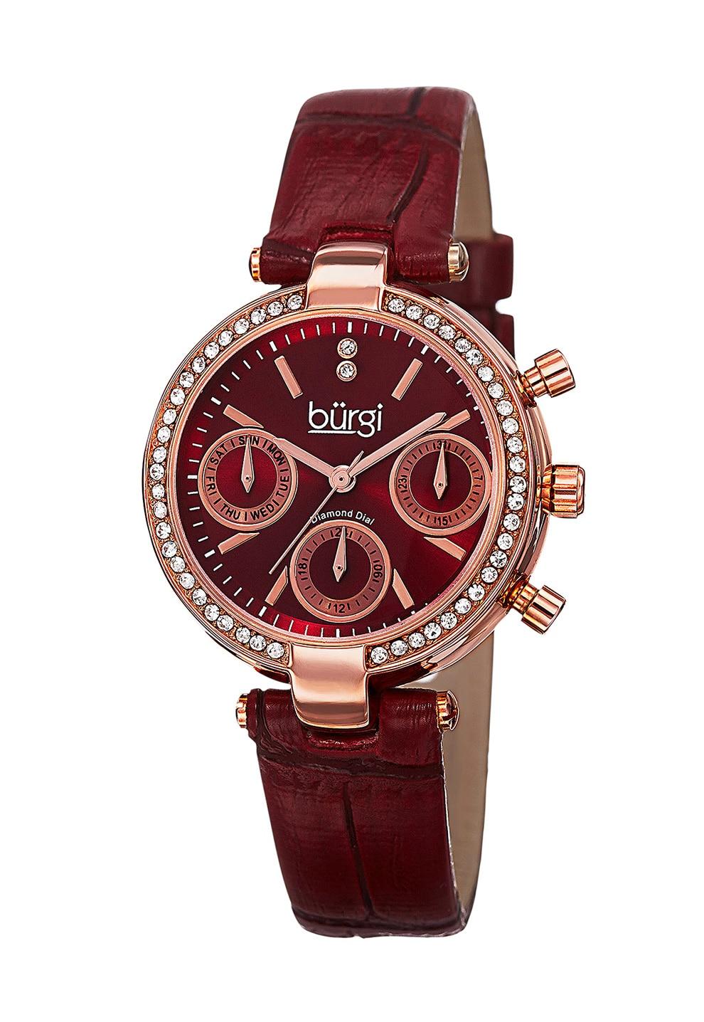 Fotografie BURGI, Ceas cu functii multiple si cadran decorat cu diamante, Auriu rose/Rosu