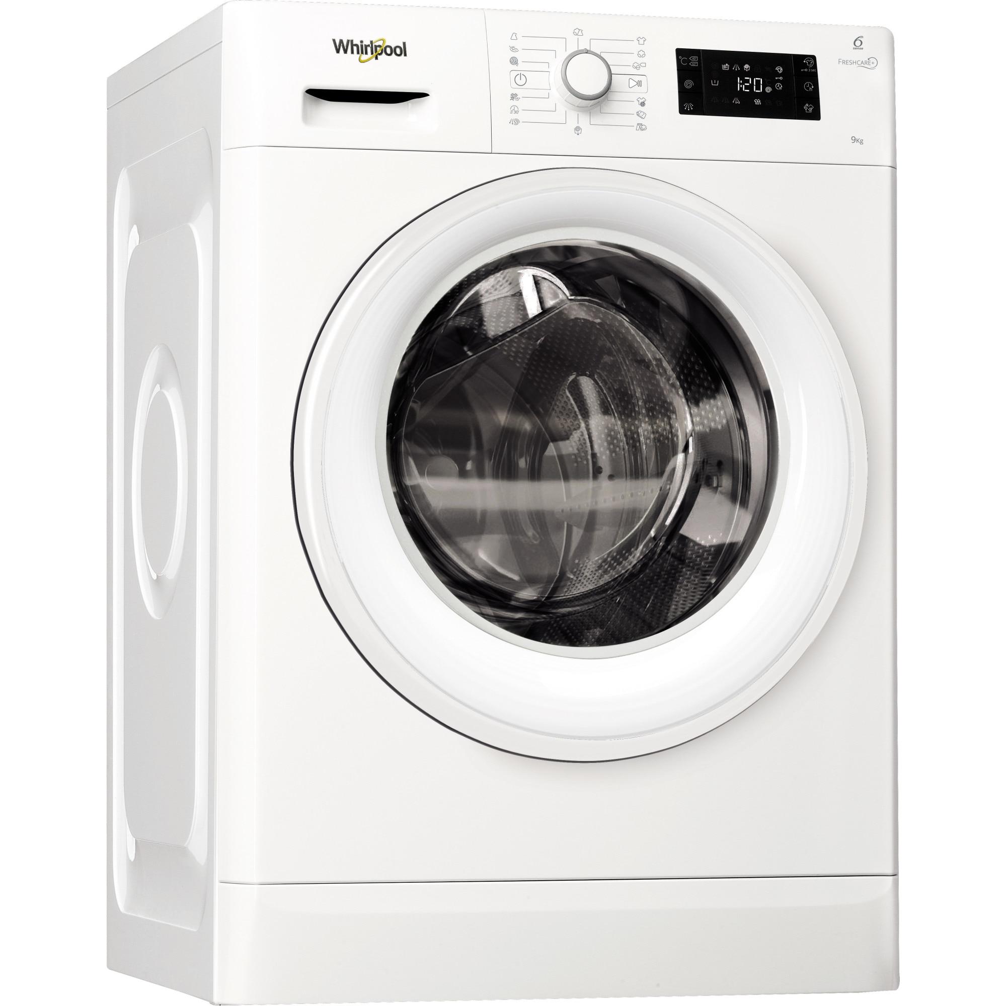 Fotografie Masina de spalat rufe Whirlpool FreshCare+ FWG91484W EU, 6th Sense Colours, 9 kg, 1400 RPM, Clasa A+++, Alb