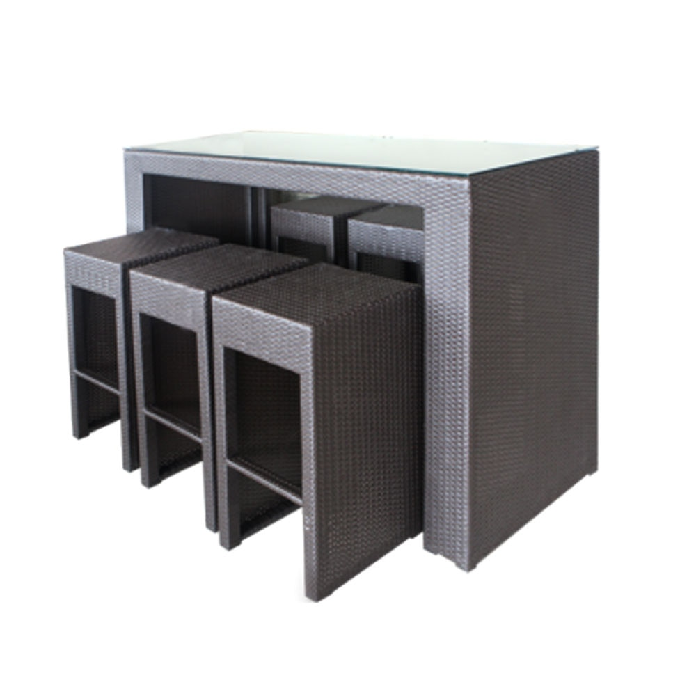 Set Mobilier Terasa Bar 7 Piese Din Ratan Cu Cadru Aluminiu Emag Ro