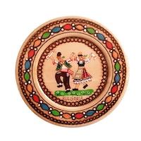 Дървена чиния пирография с фолклорни мотиви 12 Орешак