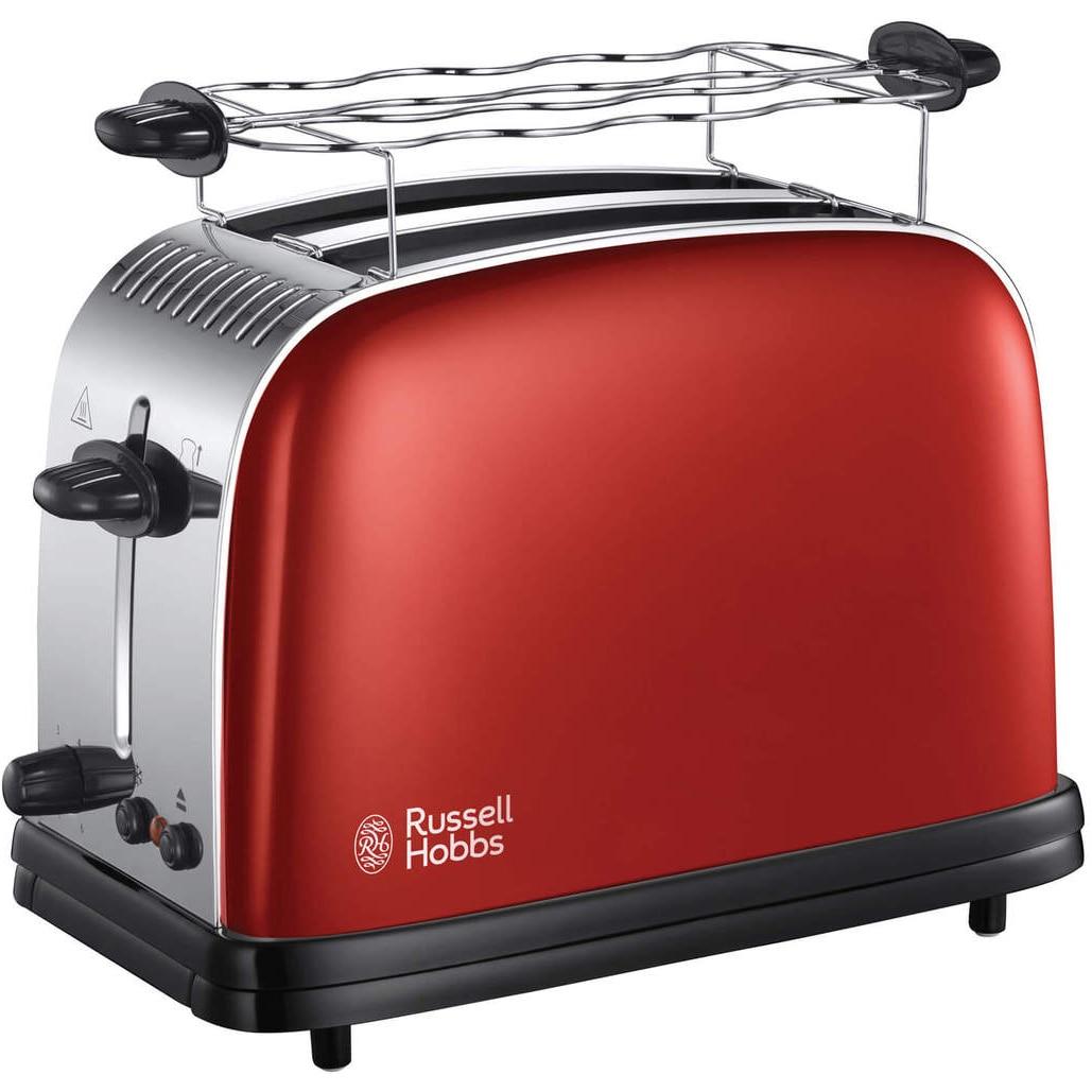 Fotografie Prajitor de paine Russell Hobbs Colours Plus Flame Red 23330-56, 1670W, 2 felii, Rosu