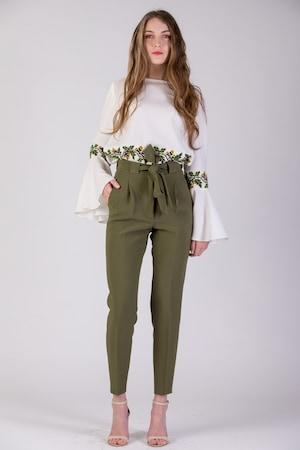Pantaloni cu talie inalta si cordon, verde