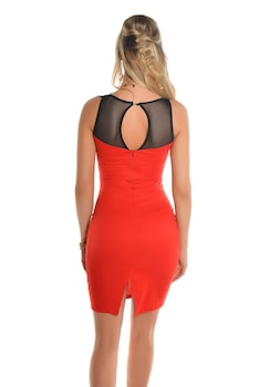 Alkalmi csipke ruha - neccbetétes, aszimmetrikus mintájú, Piros