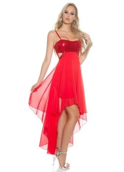 Nyári alkalmi ruha - elöl rövid, hátul hosszú, Piros