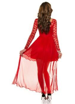 Alkalmi ruha esküvőre - hosszú, csipke ujjú, uszályos, Piros