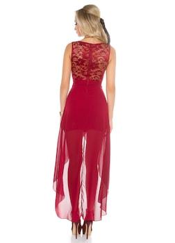 Elegáns ruha - szatén uszályos, alkalmi miniruha, Bordó
