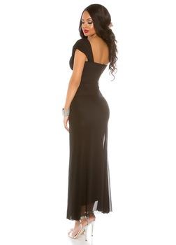 Hosszú alkalmi ruha - ráncolt felsőrészű, strasszos estélyi ruha, Fekete