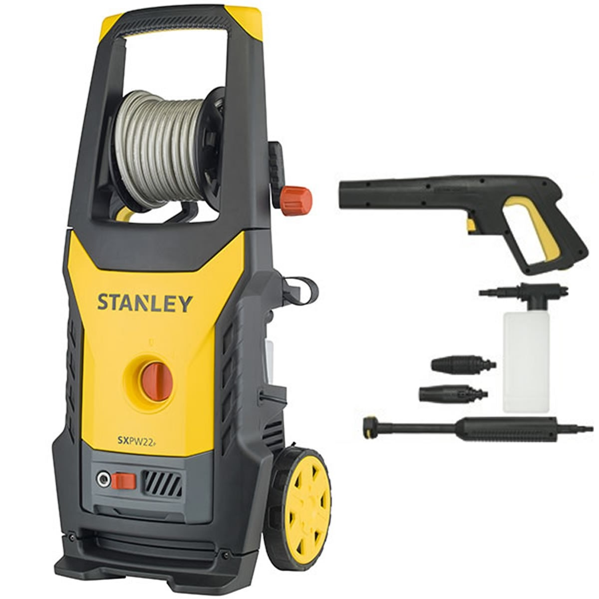 Fotografie Aparat de spalat cu presiune Stanley, 2.2 kW, 150 bar, 440 L/H, accesorii incluse: lance, pistol, bidon detergent, furtun 8 m