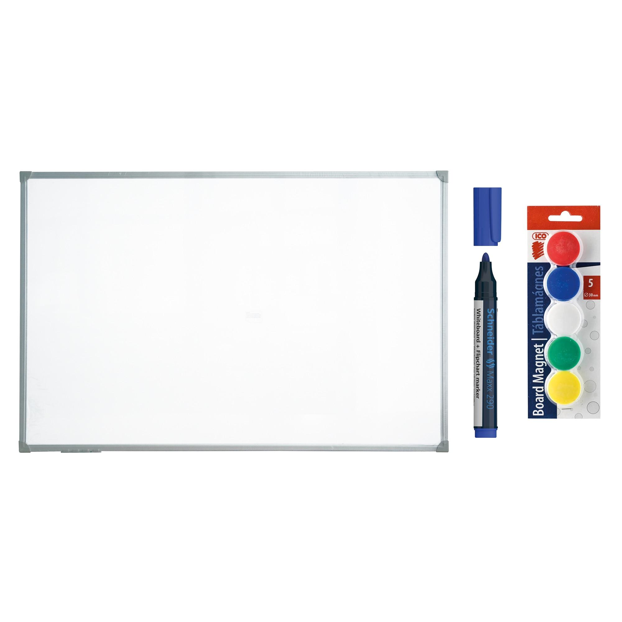 Fotografie Whiteboard magnetic cu rama aluminiu Forster 150 x 100 cm si accesorii: magneti ICO, marker Schneider