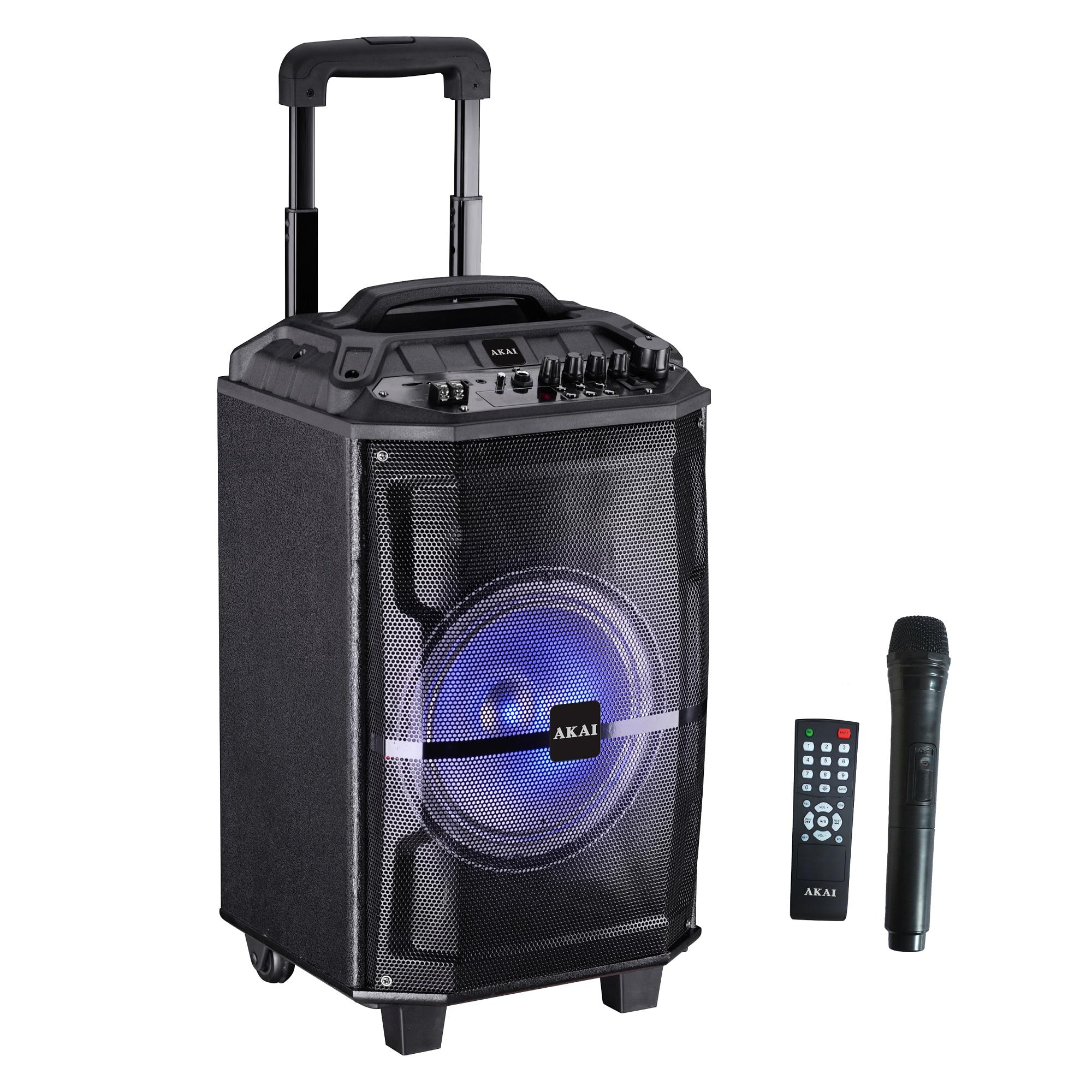 Fotografie Boxa portabila Akai ABTS-H12L, 40W, microfon wireless, Bluetooth, radio FM, karaoke, USB, lumini disco