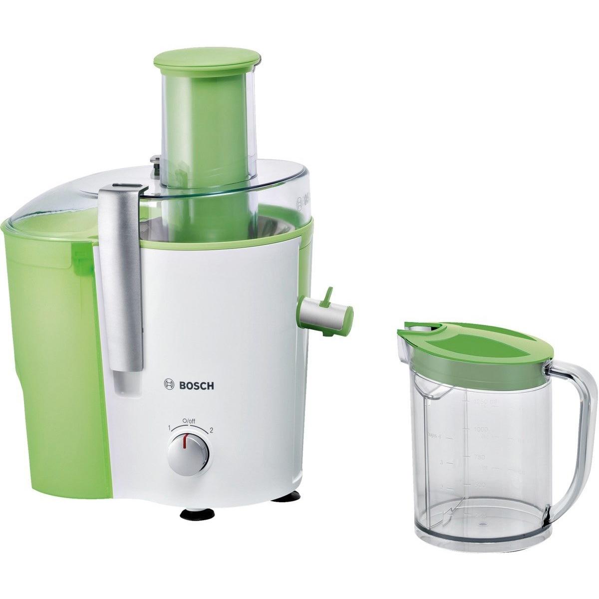 Fotografie Storcator de fructe si legume Bosch MES25G0, 700 W, Recipient suc 1.25 l, Recipient pulpa 2 l, 2 Viteze, Tub de alimentare 73 mm, Alb/Verde