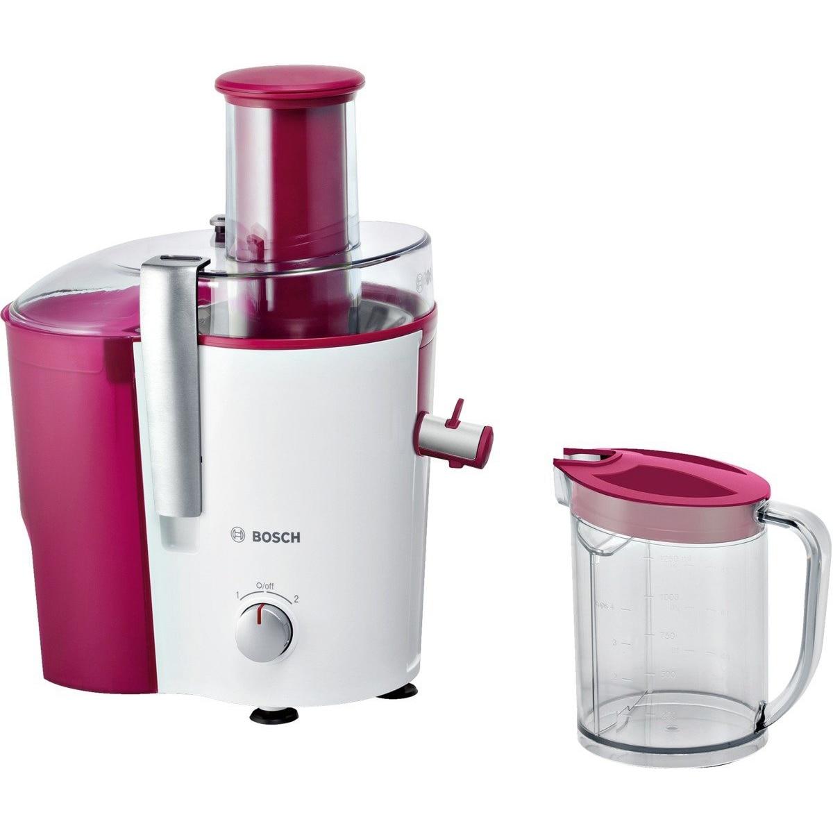 Fotografie Storcator de fructe si legume Bosch MES25C0, 700 W, Recipient suc 1.25 l, Recipient pulpa 2 l, 2 Viteze, Tub de alimentare 73 mm, Rosu/Alb