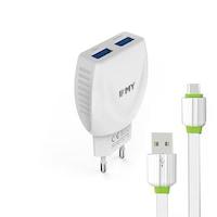 Мрежово зарядно устройство, EMY MY-221, 5V 2.1A, Универсално, 2 x USB, С Micro USB кабел, Бял