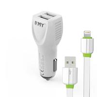 Зарядно устройство за кола EMY MY-112 5V 2.4A, Универсално, 2 x USB, С кабел за iPhone 5/6/7, Бял