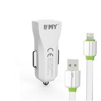 Комплект зарядно устройство за кола EMY MY-110 5V 1A, Универсално, 1 x USB, С кабел за iPhone 5/6/7, Бял