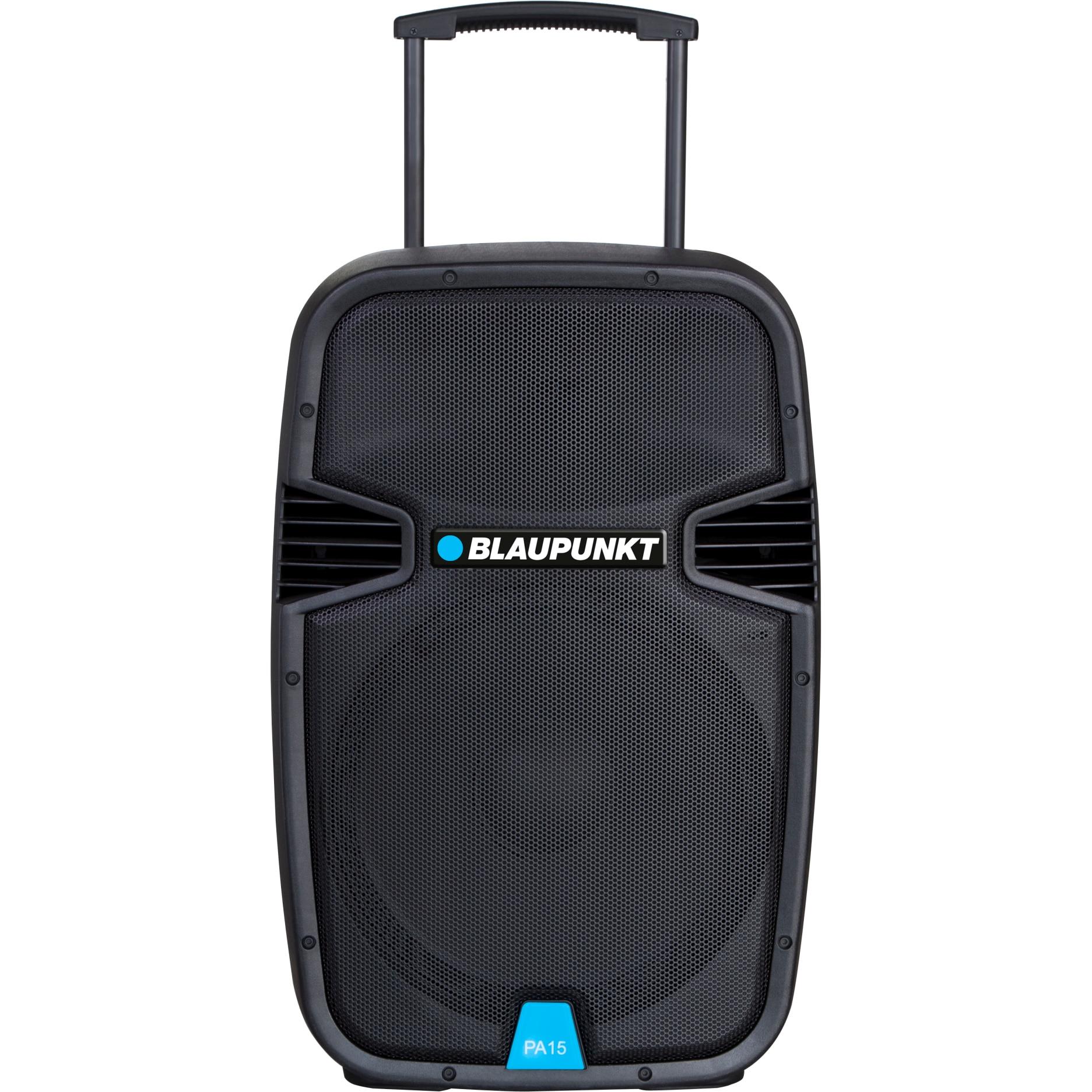 Fotografie Boxa portabila profesionala Blaupunkt, Bluetooth FM/SD/USB/AUX/KARAOKE 700W PA15