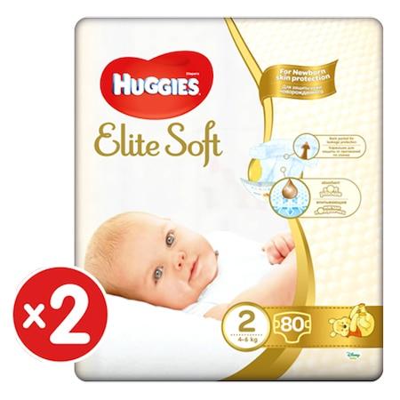 Пелени Huggies Elite Soft 2, 4-6 кг, 160 броя