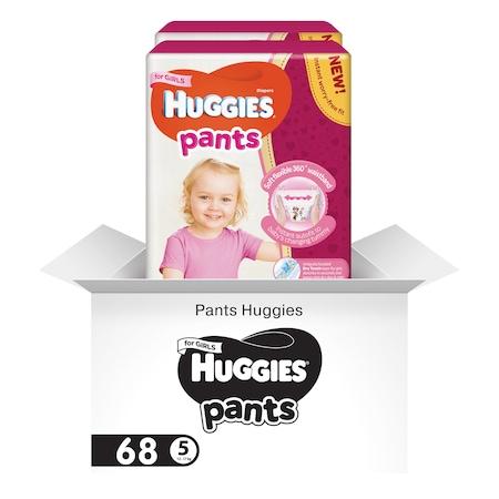 Пелени-гащички Huggies Virtual Pack 5, Girl, 12-17 кг, 68 броя