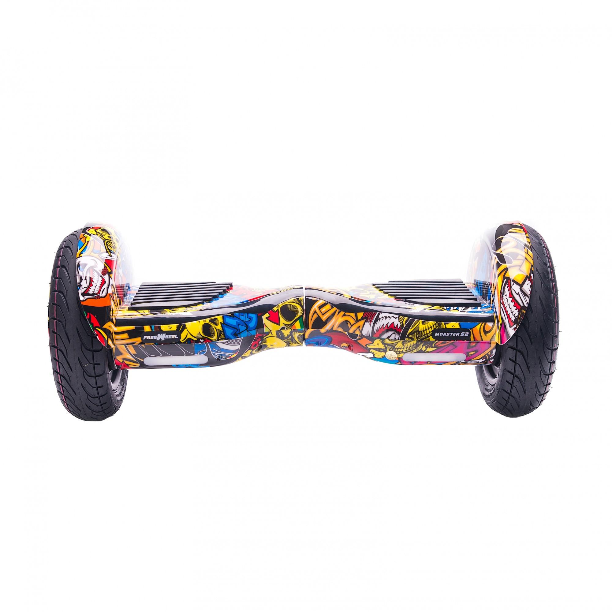 Fotografie Scooter electric Freewheel Monster S2 Graffiti, roti 10 inch, autonomie 20 km, Viteza 18km/h, Bluetooth, Putere Motoare 700W (2*350W), Aplicatie smartphone, Self Balance, Galben
