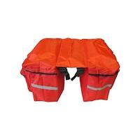 Kerékpáros oldaltáska, piros biciklis túratáska csomagtartóra, 2 részes