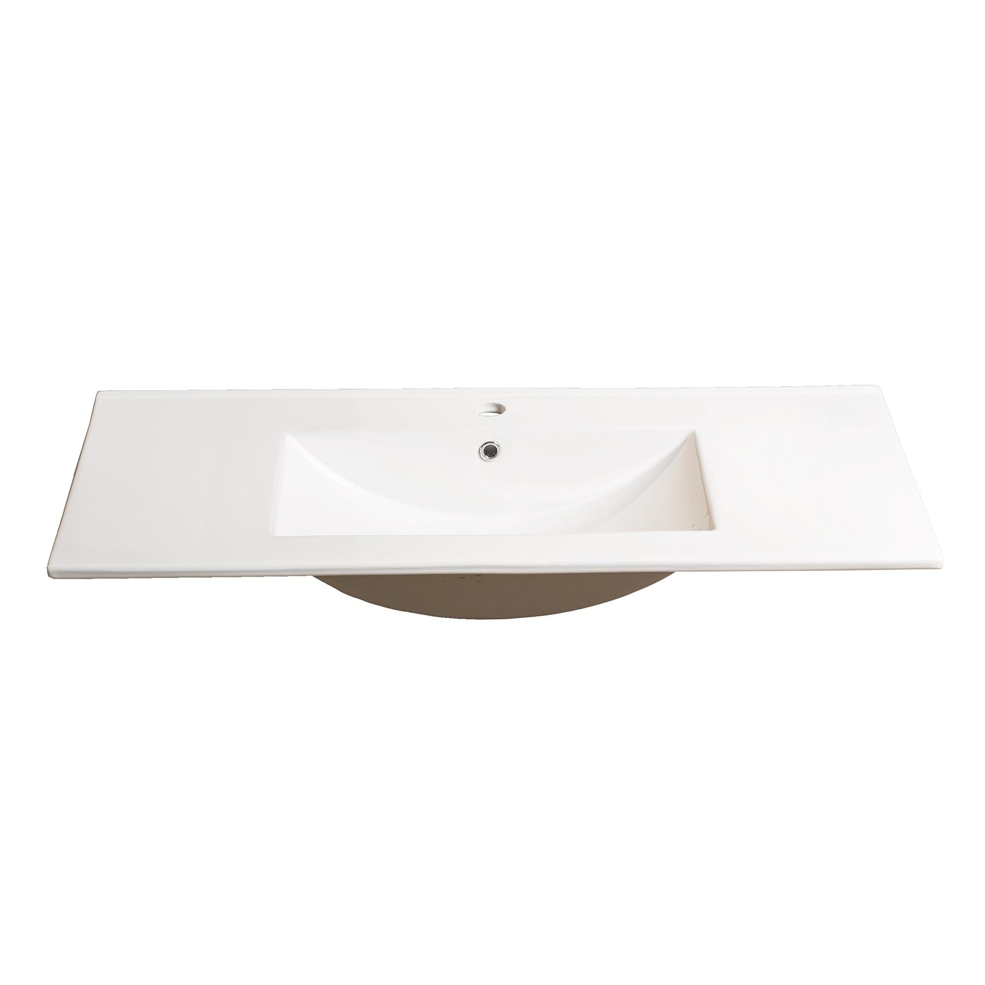 Fotografie Lavoar ceramic dreptunghiular Kring, pentru Corallo, 101x18x46.5cm