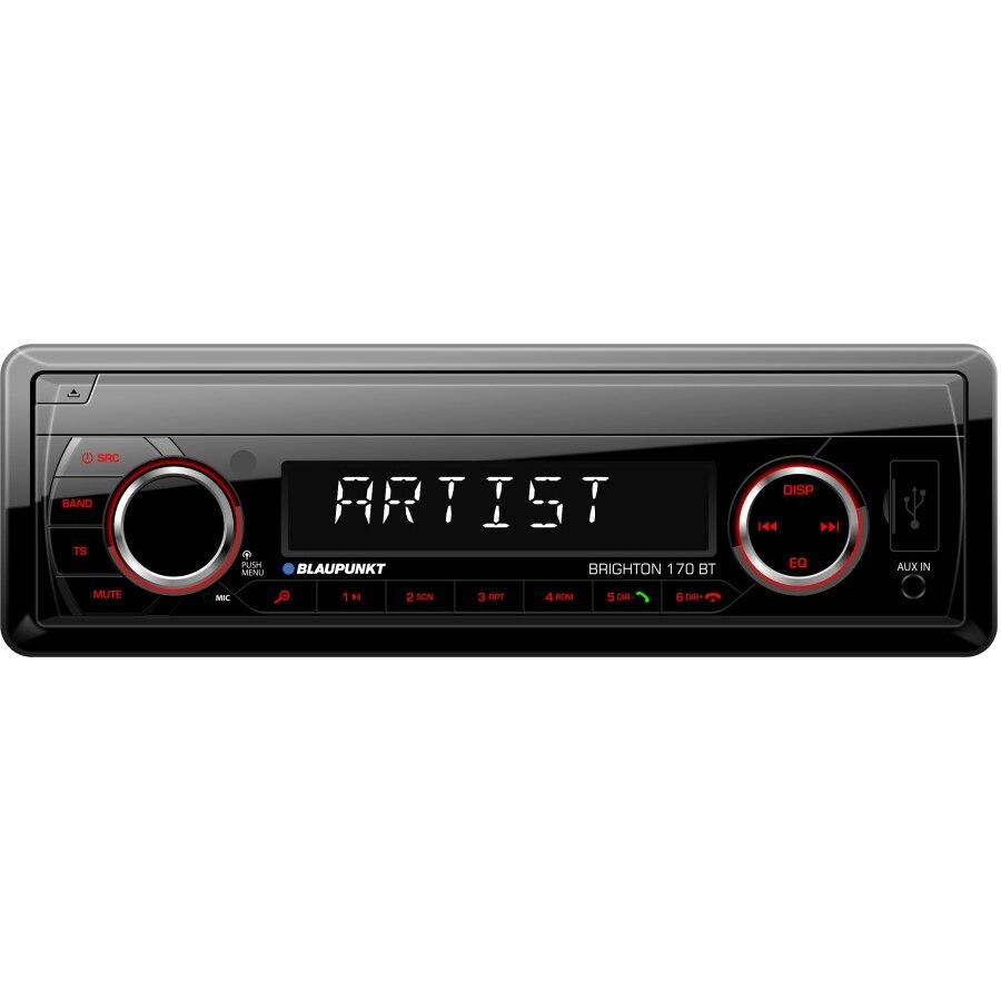 Fotografie Player auto Blaupunkt Brighton 170BT, 4X45W, Radio, USB, SD, Bluetooth, Aux In, Telecomanda, RCA, Iluminare rosu