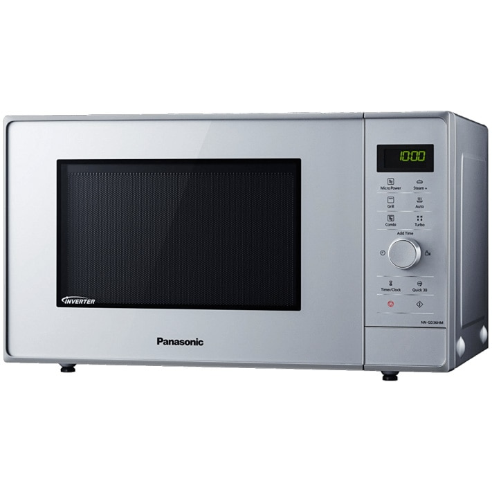Fotografie Cuptor cu microunde Panasonic NN-GD36HMSUG, 23 l, 1000 W, Digital, Grill, Accesoriu Steam+, Inverter, Argintiu