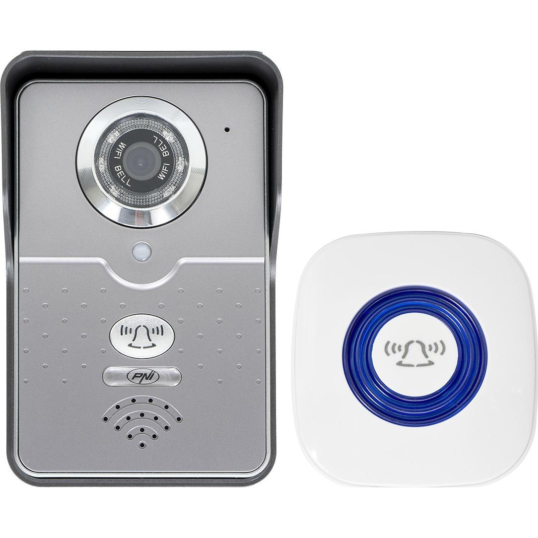 Fotografie Interfon video cu IP PNI, House 900 wireless, P2P card si vizualizare pe Smartphone, cu Android sau IOS