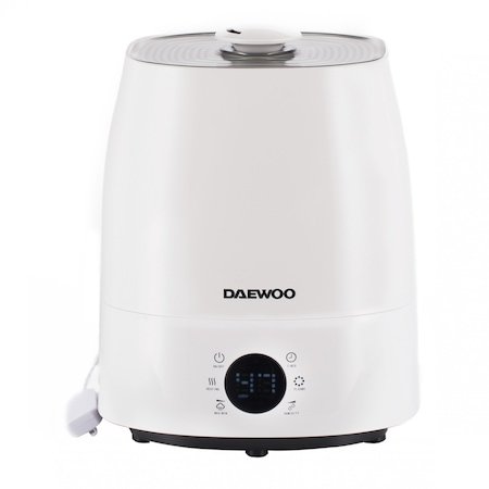 Umidificator ultrasonic Daewoo DH150, Functie ionizare, Rezervor apa 5,5 l, Arie umidificare 30 mp, Filtru ceramic, Functie Nano Silver, Display LED, Control electronic grad umidificare, Abur cald si rece