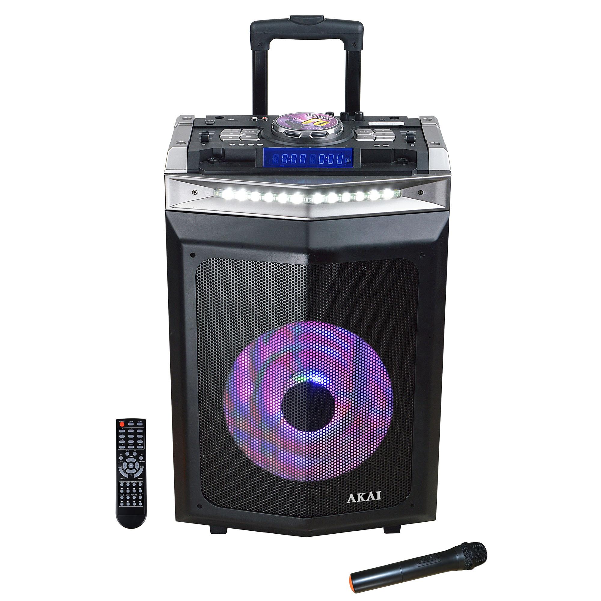 Fotografie Boxa activa portabila AKAI DJ-6112BT cu DJ mixer, Bluetooth, dual USB, radio, microfon wireless, telecomanda si mufa intrare chitara, 120W