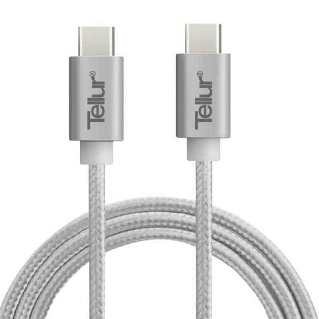 Fotografie Cablu de date Tellur USB-C, Nailon, 1m, Argintiu