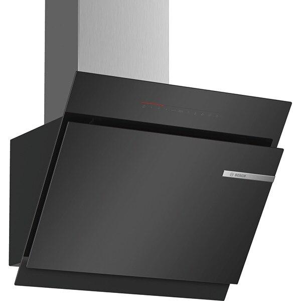 Fotografie Hota incorporabila decorativa Bosch DWK67JQ60, TouchControl, PowerBoost, Putere de absorbtie 730 mc/h, 1 motor, 60 cm, Sticla neagra