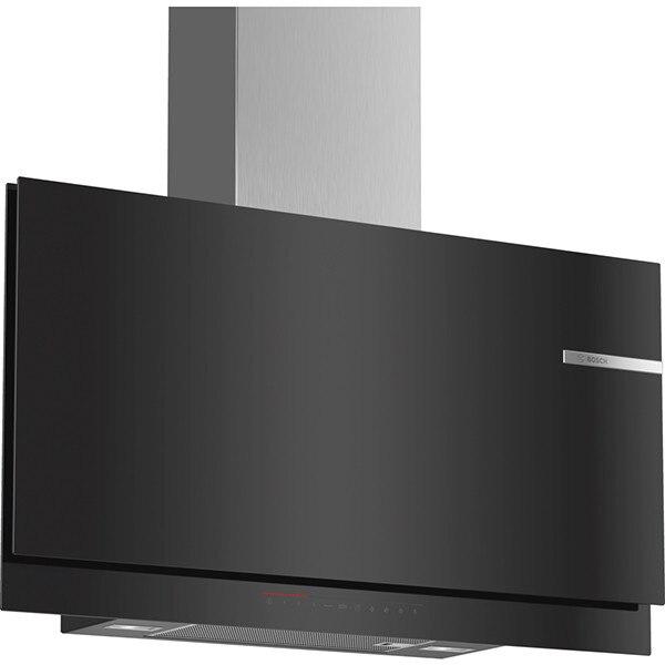 Fotografie Hota incorporabila decorativa Bosch DWF97KQ60, TouchControl cu afisaj LightLine, Putere de absorbtie 730 mc/h, 1 motor, 90 cm, Sticla neagra